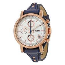 fossil es3838 women s original boyfriend navy blue leather silver tone dial