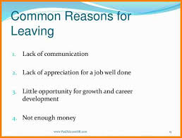 reasons for leaving