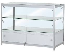 distance between each shelf 270mm 1200mm double tier satin silver glass and storage display counter led fitted dc2 slver