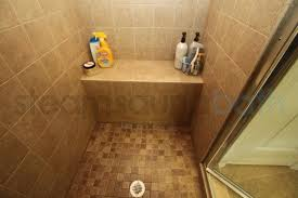 ceramic tiled steam shower bench