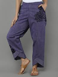 <b>Fashionable</b> cotton and linen lace printed casual wide-leg pants ...