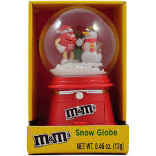 m m winter snow globe with chocolate cans