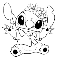 Stitch In Hawaiian Outfit In Lilo Stitch Coloring Page Download