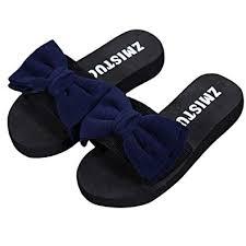 Flip Flop Shoe Size Chart Womens Fashion Bow Sliders Summer Slip On Flip Flop Shoes Ladies Elegent Open Toe Slippers Flat Platform Sandals For Girls Outdoor Indoor Size 3 5