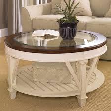 white wood glass coffee table hammary promenade round coffee table hayneedle