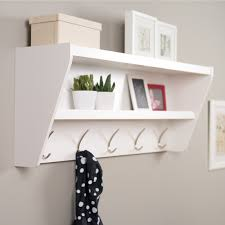 Furniture Wooden Wall Coat Hanger And Shelf Using Black Iron Hook