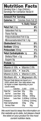 silk unsweetened original almondmilk nutrition label