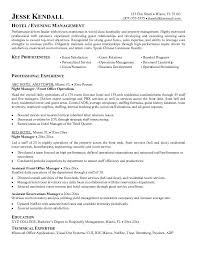 hotel manager sample resume