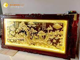 Tranh Đồng Quê Bằng Đồng gắn đèn LED trang trí phòng khách - Đồ đồng Vĩnh  Phúc