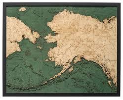 Alaska Nautical Charts Alaska 3 D Nautical Wood Chart