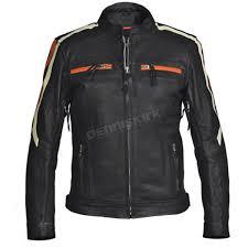 interstate leather women s black orange blade leather jacket i5144l