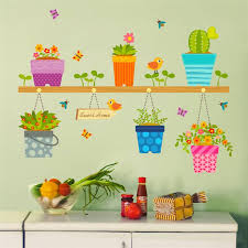 diy wall stickers home decor potted flower pot window glass wall decals removable bonsai birds erfly mural poster decor decorative decals for walls