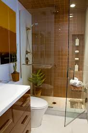 bathroom spacious small shower room with glass door and neat wall shelves decor idea having