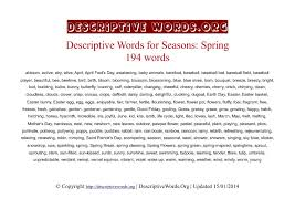 spring words descriptive words for spring descriptive words  spring season descriptive words