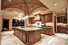 Luxury Tuscan Kitchen With Light Marble Countertops Custom Cabinets And  Dome Ceiling