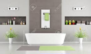 Modernes Badezimmer Mit Weißen Badewanne Heizung Und Nischen 3d