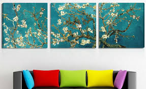 print painted van gogh oil painting reproductions 3 piece abstract canvas art almond flower picture modern wall decor 40x40cmx3 on 3 piece abstract canvas wall art with print painted van gogh oil painting reproductions 3 piece abstract