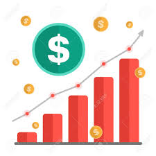 Growing Money Concept Dollar Sign With Chart Rising Arrow And