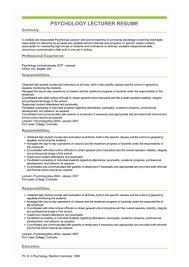 Psychology Sample Resumes Sample Psychology Lecturer Resume