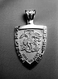 st michael medal 14k white gold