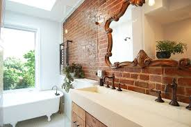 view in gallery satin finish coated brick wall in the bathroom brings both textural beauty and a hint