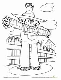 Small Picture Scarecrow Worksheet Educationcom