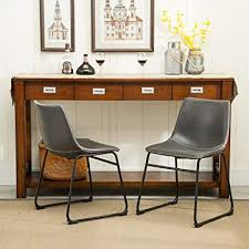 roundhill furniture c185gy lotusville pu leather vine dining chairs antique set of 2 gray