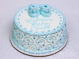 Photo Of A Baby Shower Cake Blue Boy Round Pattys Cakes And Desserts