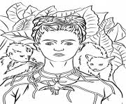 Frida kahlo, ciudad de méxico (mexico city, mexico). Self Portrait With Necklace Of Thorns By Frida Kahlo Coloring Pages Printable