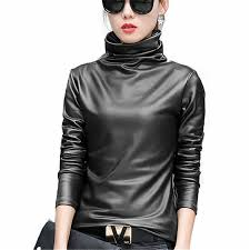 freshlook y women pu leather blouse turtleneck long sleeve faux leather wet look strechy t shirt high neck las tops plus size com