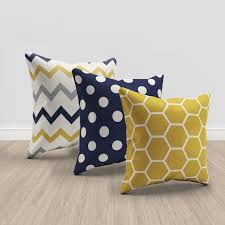 Image Geometric Navy And Mustard Yellow Throw Pillows Set Of Pinterest Navy Blue And Mustard Yellow And Cream Throw Pillows Set Of