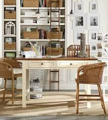 pottery barn office ideas. Shelving And Baskets Keep Bring Order To Home Offices. #potterybarn Pottery Barn Office Ideas