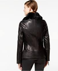 lyst jones new york faux fur collar leather jacket in black