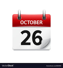 Daily Calander October 26 Flat Daily Calendar Icon Date
