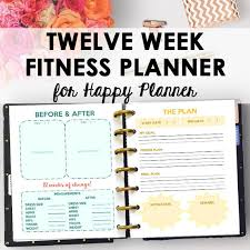 Happy Planner Fitness Journal And Weight Loss Planner For Happy Planner Printable Fitness Planner Printable Workout Journal Inserts Download