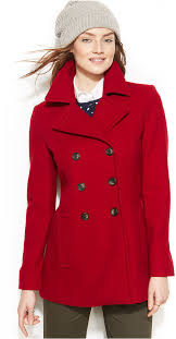 women s fashion outerwear pea coats red pea coats tommy hilfiger double ted pea coat