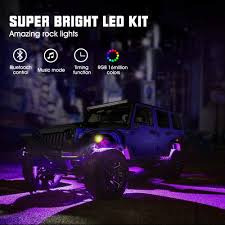 Bright Rock Lights Novsight 4 Pods Rgb Led Rock Lights Neon Atmosphere Lamp Kit 6000k Super Bright 16 Million Colors W Bluetooth Controller Timing Flashing Music Mode