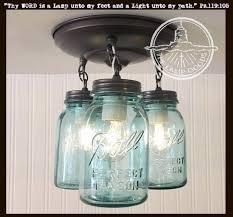 Light Blue Mason Jars Vintage Blue Mason Jar Ceiling Lighting Fixture Trio