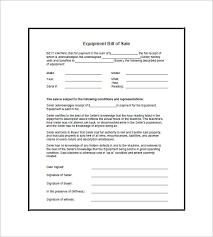 bill of sale equipment bill of sale 8 free word excel pdf format download