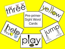 Pre Primer Sight Word Flash Cards With Picture Cues Sight