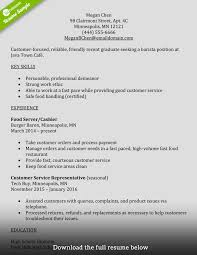 Sample Resume Templatesfast Food Server Restaurant Service Cashier
