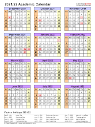All weeks are starting on monday and ending on sunday. Academic Calendars 2021 2022 Free Printable Pdf Templates