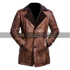 x men wolverine jacket distressed brown fur trench coat
