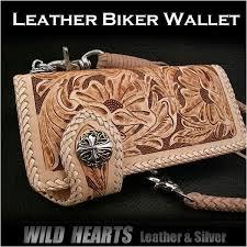 genuine cowhide leather biker wallet western scroll carved custom handmade wallet wild hearts leather silver id ns04r11