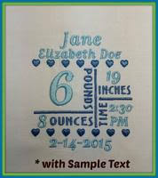 Birth Announcement Templates | A Stitch In Time Embroidery Designs