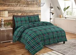 flannelette tartan check duvet cover set thermal bedding with pillow cases