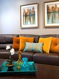 orange accent pillows. Accent Pillows For Brown Couch Contemporary Leather Sofa With Orange Throw What Color U