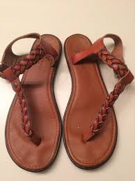 american eagle faux leather braided t strap sandals women s size 7 brown