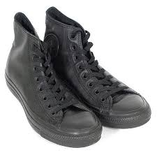 converse all star hi leather lace up trainer monochrome black women trainers patent white high tops