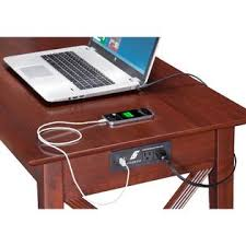 atlantic furniture lexi walnut wood desk with drawer and usb